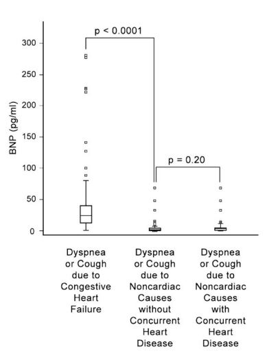Box plot of plasma B-type natriuretic peptide (BNP) concentrations for 3 groups of dogs presenting with cough or dyspnea
