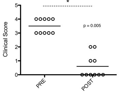 Graph of clinical scores PRE and POST sildenafil treatment
